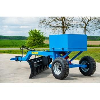 LEKO 3.5 m vontatott gréder, 500 l-es súlyládával, hidraulikus kerékemeléssel és fordítóval
